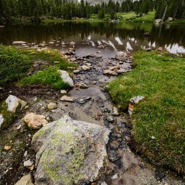 Small Creek into the pond below the lake- Ptarmigan Lake Trail