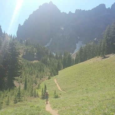 Krista on the trail- Three Fingered Jack