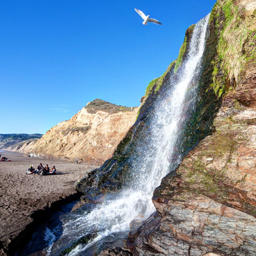 Hanging out at the beach by the falls- Palomarin Hike to Alamere Falls