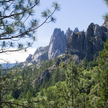 View of the crags from along the trail- Castle Crags Dome Hike