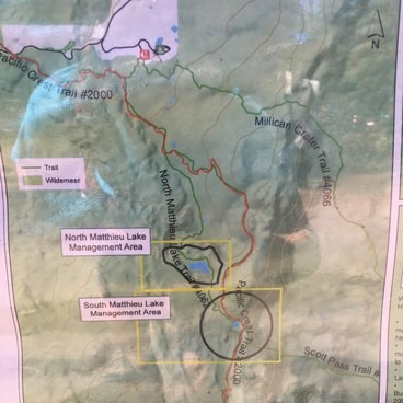 Map photo taken from the trail- note Scott Pass after South Matthieu Lake for a great, short side trip for additional views.- Matthieu Lakes