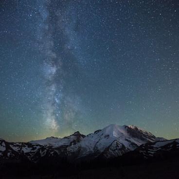 Mt. Rainier from Sunrise Visitor Center at 2:00 AM.- Mount Rainier National Park