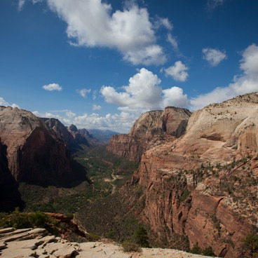View of the valley from Angels Landing. - Angels Landing Hike