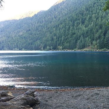 A beautiful view of the lake from our campfire- Lake Crescent, Fairholme Campground