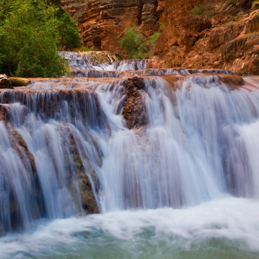 Long Exposure of Beaver Falls - Mooney + Beaver Falls Hike from Supai