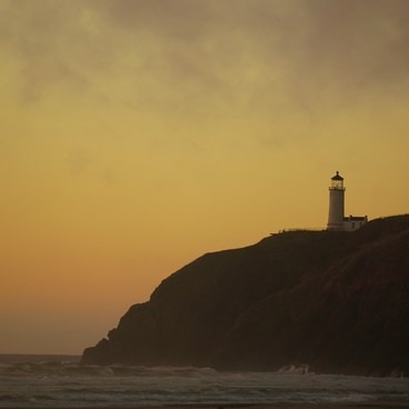 Lighthouse view from the beach near the campground- Cape Disappointment Campground D