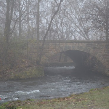 The morning fog was intense! Looking upstream from Minnehaha Falls- Minnehaha Falls