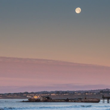 Wolf Moon over the SS Palo Alto- Seacliff State Beach