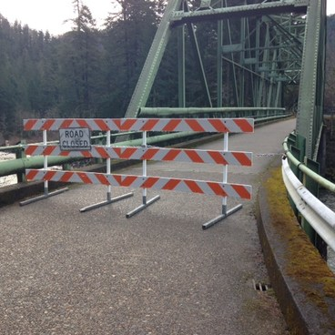 NF-45 closed at Memaloose Bridge- Clackamas + Memaloose Falls