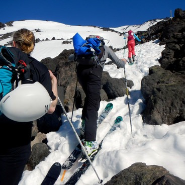 Working up the ridgeline- Mount St. Helens Worm Flows Backcountry Ski