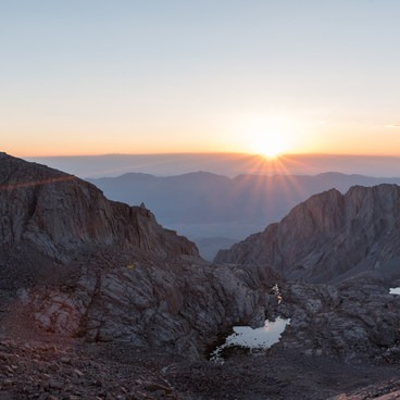 Sunrise above Trail Camp looking back over the Owens Valley- Mount Whitney Hike via Whitney Portal