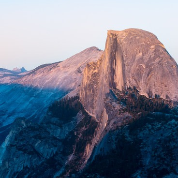 Half Dome at sunset, viewed from Glacier Point.- Half Dome Hike via John Muir Trail
