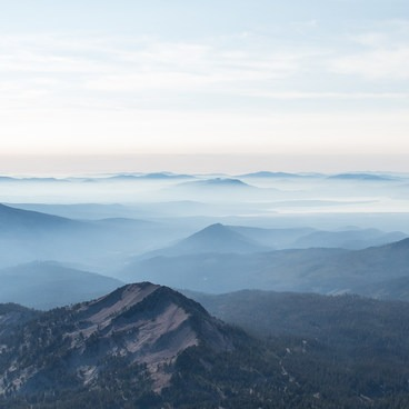 View over Lake Almanor from Lassen Peak.- Lassen Peak