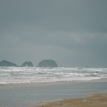 SeaStacks off the coast on the Northside of the beach- Cape Lookout State Park Campground