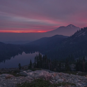 Sunrise from in front of the lake.- Heart Lake