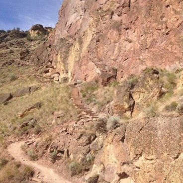 Taking a breather (about 2/3 or 3/4 of the way up the trail).- Smith Rock, Misery Ridge Hiking Trail