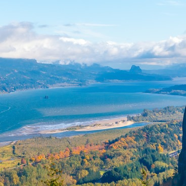 Fall view from the Women's Forum to Vista House and Columbia River Gorge- Portland Women's Forum State Scenic Viewpoint