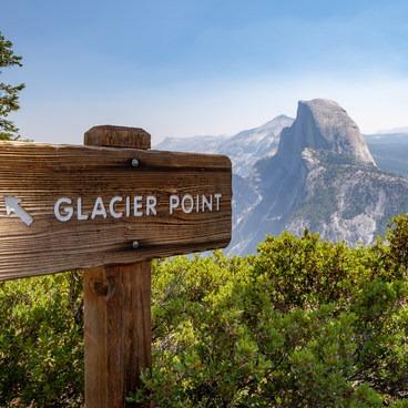 Glacier Point sign with Half Dome- Glacier Point