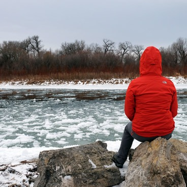A frosty Madison River just before meeting the Jefferson River.- Missouri Headwaters State Park