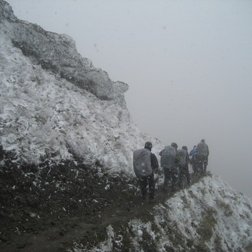 Snow at 2,200 ft. on the old Dog Mountain Trail- Dog Mountain Hiking Loop