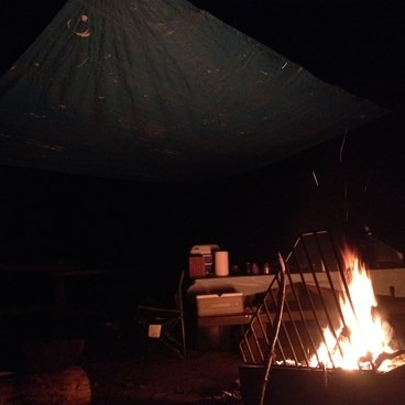 Fire in our site at night. - Keenig Creek Campground