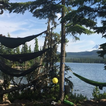 Our epic hammock setup- Olallie Lake Resort