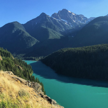 View from Diablo Lake overlook - just a mile or two from the campsite- Colonial Creek Campground