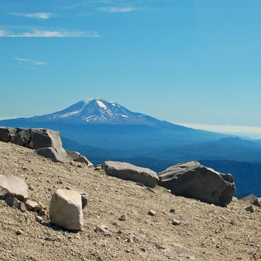 Mt Adams resides not far and is ever present during your climb- Mount St. Helens Hike: Monitor Ridge Route