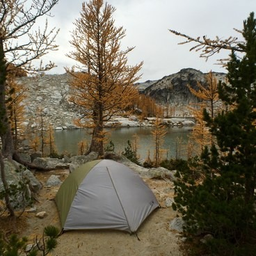 Campsite on the shores of Sprite Lake- Enchantment Lakes Thru-Hike
