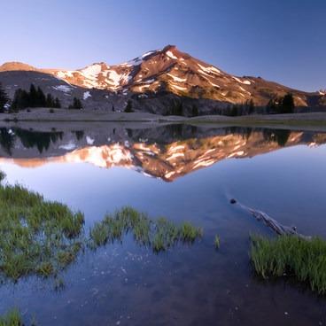 South Sister reflecting in Green Lake- Green Lakes