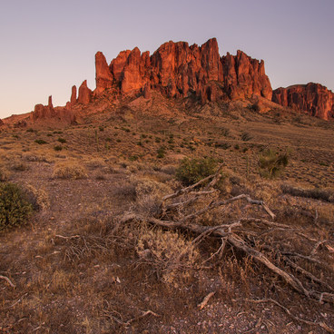 Late evening light on the Superstition Mountains- Lost Dutchman State Park Campground