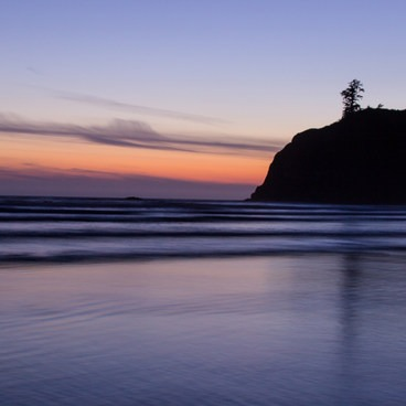 Sunsets can last quite a while in early summer on the Northern Washington coast- Ruby Beach