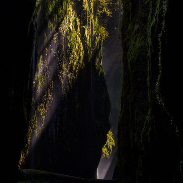 In spring, during the noon hours, the sun is in the right position to cast light into the mist of the gorge.- Oneonta Gorge