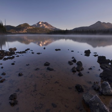 The lake can still become cold enough for frost to form on the shore even in summer- Sparks Lake Shoreline Campsites
