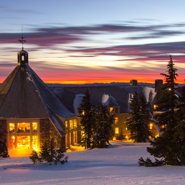 The lodge is full of Christmas cheer during the holiday season- Timberline Lodge