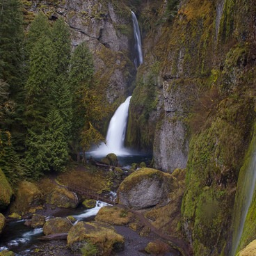 Seasonal falls can exist high above Wahclella during wet springs.- Wahclella Falls Hike