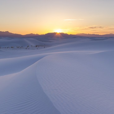 Sun sets over the San Andreas Mountains- White Sands National Monument