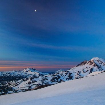 The moon over Broken Top (left), Mt Bachelor (middle), and South Sister (right)- Middle Sister, East Approach
