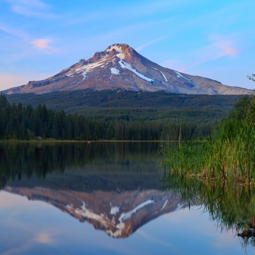A still reflection and lasting color after sunset.- Trillium Lake