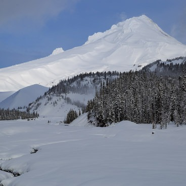 White River barely moves at a trickle, and under snow bridges.- White River West Ski Trail