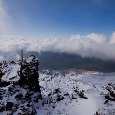 Clouds separate after a snow storm on Monitor Ridge- Mount St. Helens National Volcanic Monument