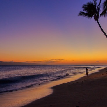 A beach walker at sunset- Ka'anapali Beachwalk