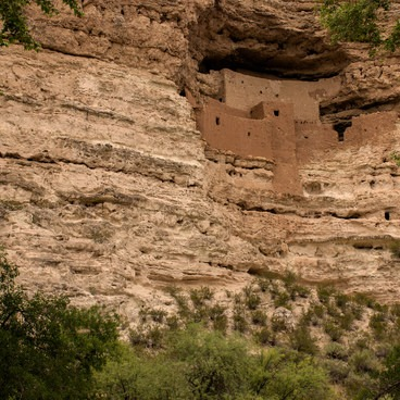 View of the castle framed by trees- Montezuma Castle National Monument