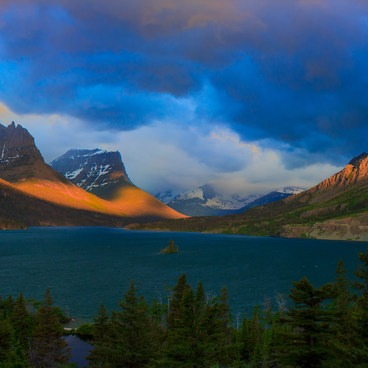 Panorama of dramatic light over St Mary Lake- Going-to-the-Sun Road