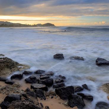 Morning light over Kepuhi Pt- Makaha Beach Park