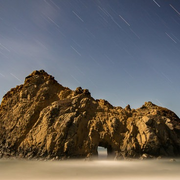 A star trail during a quarter moon- Pfeiffer Beach