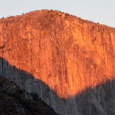 Last light of day illuminating El Capitan- Tunnel View