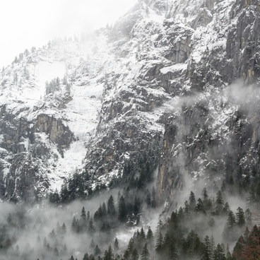 Valley walls coated in snow- Tunnel View