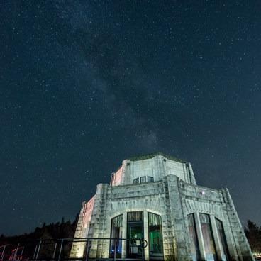 Vista House beneath the Milky Way- Crown Point Vista House