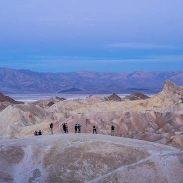 Tripods lined up for the sunrise- Zabriskie Point